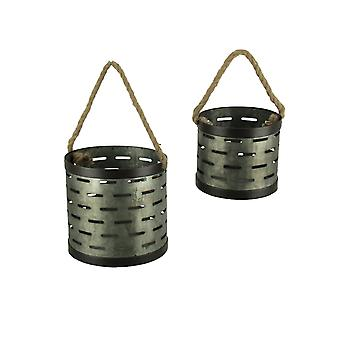 Rustic Galvanized Metal Cutout Bins with Rope Handle Set of 2