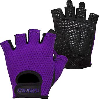 Contraband Sports 5307 Pink Label Diamond Mesh Weight Lifting Gloves - Purple