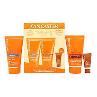 Lancaster Sun Care present Set 50ml sammet kropp Milk SPF30 + 50ml efter Sun Tan Maximizer + 3ml ansikte Bronzer SPF15 50ml Pre Tan Exfoliator + 30ml solen skönhet Velvet Cream SPF30