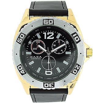 Zaza London Gents Chrono Effect Black Dial Leather Strap Casual Watch MLB456