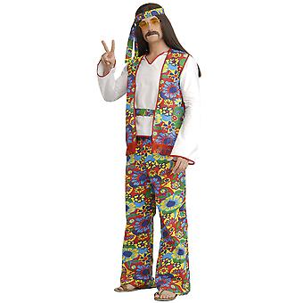 Hippie Dippie 1970s 1960s Psychedelic Peace Retro Men Costume Plus XL