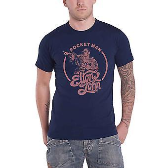 Elton John T Shirt Rocketman Circle Point Logo new Official Mens Navy Blue