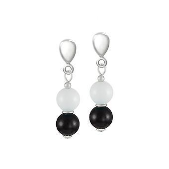 Eternal Collection Finale White/Black Mountain Jade Silver Tone Drop Clip On Earrings