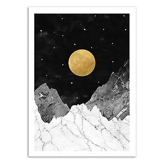 Art-Poster - Moon and stars - Kookie Pixel 50 x 70 cm