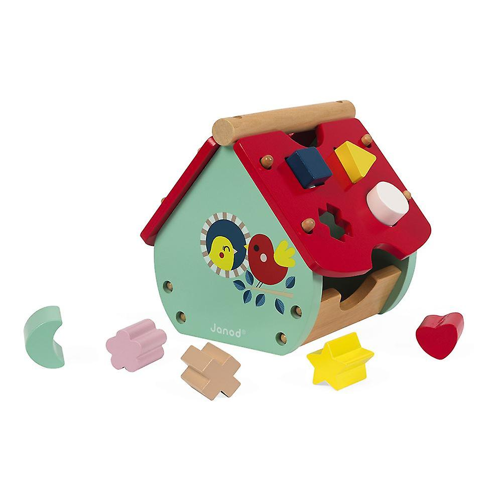 Janod Baby Forest House Wooden Shape Sorter & Clock