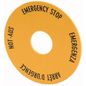 Eaton M22-XAK1 Etichetta (x H) 90 mm x 90 mm EMERGENCY STOP (de, en, fr, it) Giallo 1 pc(s)