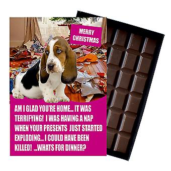 Bassett Hound Funny Christmas Gift For Dog Lover Boxed Chocolate Greeting Card Xmas Present