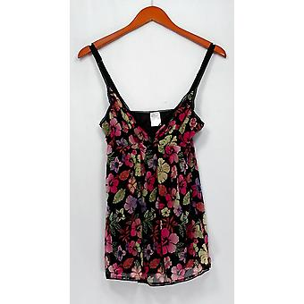Angel Love Top Signature Floral Print By-Pass Baby Doll Camisole Black A202096