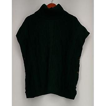 Denim & Co. Sweter XXS Button Side Knit Golf Poncho Green