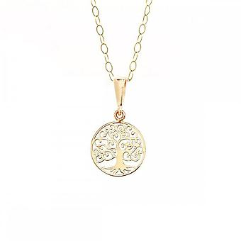Eternity 9ct Gold Small Round Tree Of Life Pendentif et 16'quot; Trace Chain