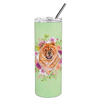 Chow Chow #1 Green Flowers Double Walled Stainless Steel 20 oz Skinny Tumbler