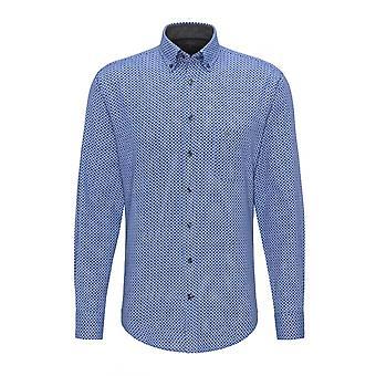Fynch-Hatton Fynch-hatton Printed Flannel Button Down Collar Lo Blue Patterned