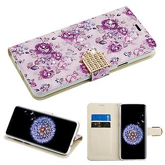 MYBAT Fresh Purple Flowers Diamante MyJacket Wallet(w/ Diamante Belt)(DM103) for Galaxy S9 Plus