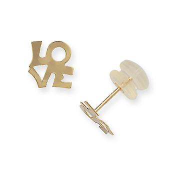 14k Yellow Gold Polished Love Post Earrings Jewelry Gifts for Women - .3 Grams