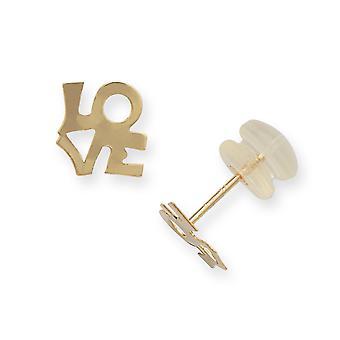 14k זהב צהוב מלוטש אהבה לכתוב עגילים תכשיטים מתנות לנשים-.3 גרם