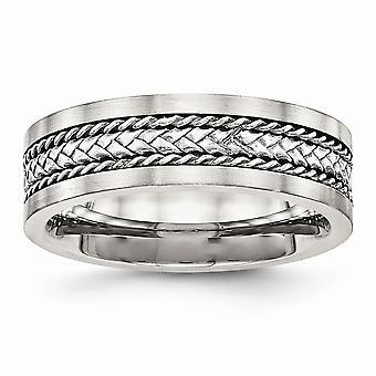 7.17mm roestvrij staal gepolijst en satijn satijn en gepolijst met zilveren centrum inlay ring sieraden geschenken voor vrouwen - Rin