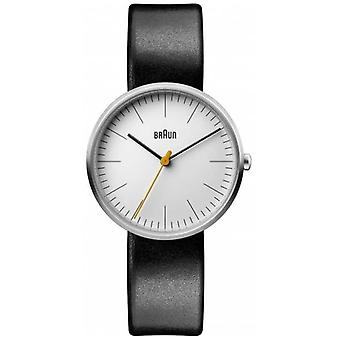 Braun Women's Classic White Dial Black Leather Strap BN0173WHBKL Watch