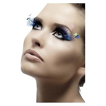 Womens Blue Feather Eyelashes With Glue Fancy Dress Accessory
