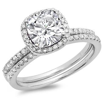 Dazzlingrock Collection 10K White Sapphire & White Diamond Bridal Halo Engagement Ring Set 1 3/4 CT, White Gold