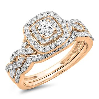 Dazzlingrock Collection 0.95 Carat (ctw) 14K Round Diamond Swirl Bridal Halo Engagement Ring Set 1 CT, Rose Gold