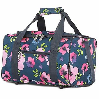 5 Cities Ryanair Sized Cabin Holdall Hand Luggage Bag 40x20x25cm Navy Floral