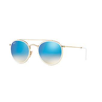 Ray-Ban RB3647N 001/4o Złote/Brązowe Gradientowo-niebieskie okulary lustrzane