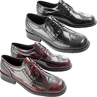 Ikon Mens Kromby Formal Smart Casual Leather Wingtip Ska Mod Laced Brogue Shoes