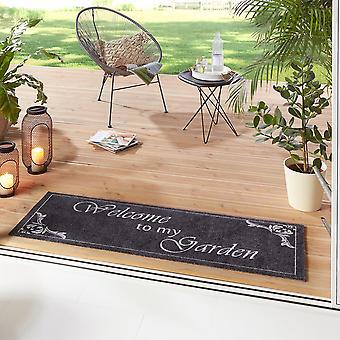 Washable Kitchen Runner Welcome To My Garden Grey 50x150 cm