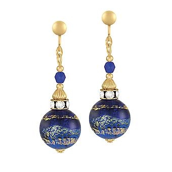 Eternal Collection Focale Cobalt Blue Murano Glass Gold Tone Drop Clip On Earrings