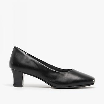 Comfort Plus Karla Ladies Leather Court Shoes Black