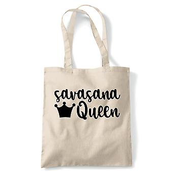 Savasana Königin Tote | Yoga Yogi Sutra Mantra Stress Relief Relax Pose | Wiederverwendbare Shopping Baumwolle Leinwand lang behandelt natürliche Shopper Eco-Friendly Fashion