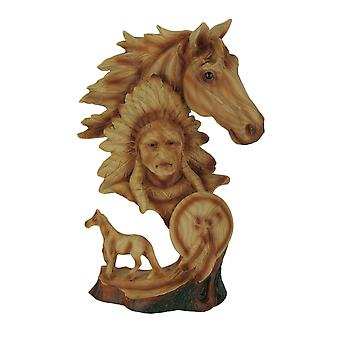 Western Horse and Native American Chief Carved Wood Look Bust Statue