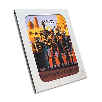 Boba Fett Signed Star Wars Bounty Hunters Poster In Gift Box
