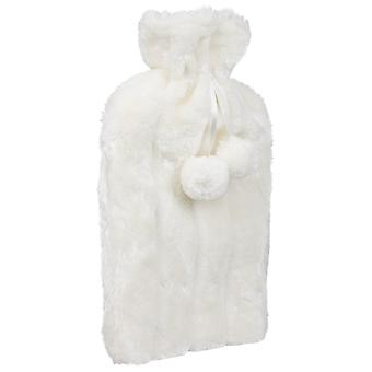 2L Cream Hot Water Bottle Cover Knitted Faux Fur Plush Set Winter Warm Cosy
