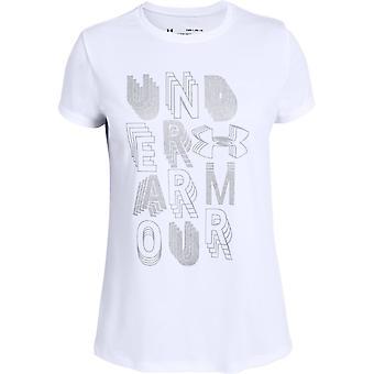 Under Armour Girls Linear Wordmark Short Sleeve T-shirt White