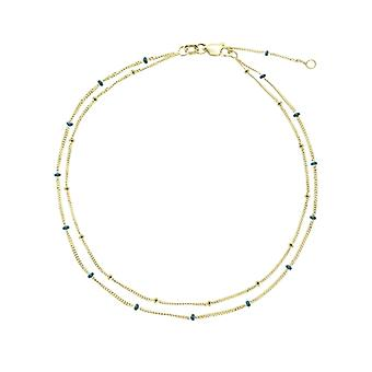 14k Yellow Gold Double Strand Blue Enml And Plain Saturn Chain Anklet 10 Inch Jewelry Gifts for Women