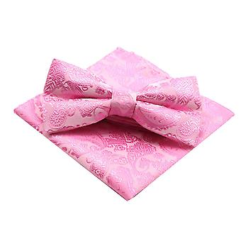 Bright pink wedding paisley bow tie & pocket square set