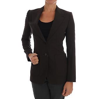 Dolce & Gabbana Brown Wool Cotton Two Button Blazer Jacket