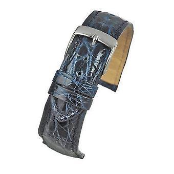Echte Italiaanse krokodil horloge band marine blauwe maat 18mm en 20mm