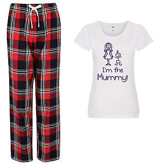 Ladies I'm The Mummy Christmas Tartan Trouser Pyjamas