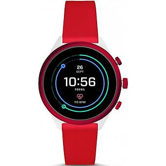 Fossil watch FTW6052 - CONNECT ES FULL DISPLAY SPORT Bo tier Aluminium Bracelet Silicone Red Women