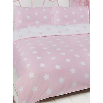 Pink and White Stars Duvet Cover and Pillowcase Set