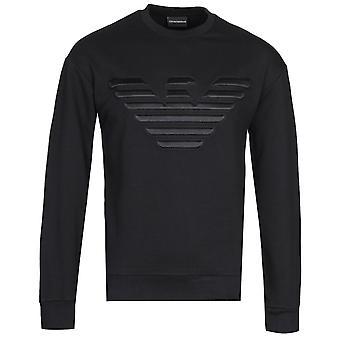 Emporio Armani 3D Haftowane logo Czarna bluza