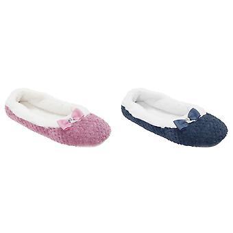 Slumberzzz Womens/Ladies Textured Ballet Slippers
