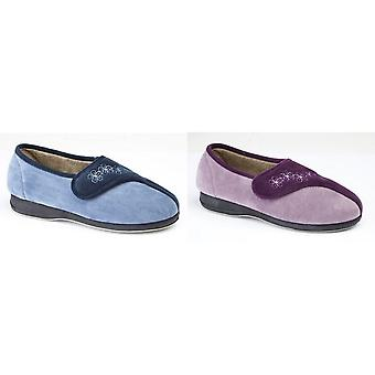 Sleepers Womens/Ladies Gemma Touch Fastening Embroidered Slippers