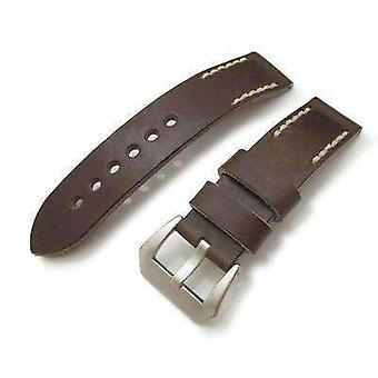 Strapcode leather watch strap 20mm, 22mm miltat pull up leather russet watch strap, beige hand stitches