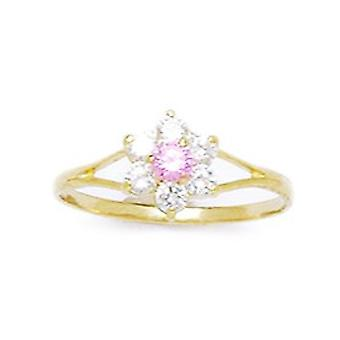 14k Yellow Gold Purple CZ Cubic Zirconia Simulated Diamond Size 5.5 Flower for boys or girls Ring