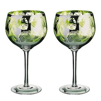 Artland Tropical Leaves set van 2 jenever glazen