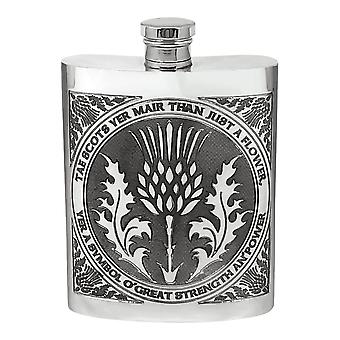 6oz Tae A Thistle Flask Pewter