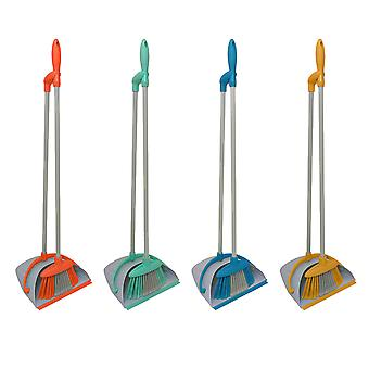 Charles Bentley Bright Indoor Long Handled Lobby Dustpan & Brush Set-Open and Close Pan-Various Colours